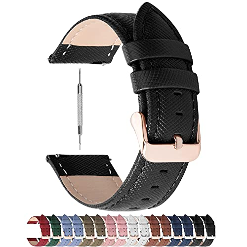 Fullmosa Colores para Correa de Reloj, Cross Piel Correa Huawei Samsung Correa/Banda/Band/Pulsera/Strap de Recambio/Reemplazo 14mm 16mm 18mm 20mm 22mm 24mm,Negro 20mm