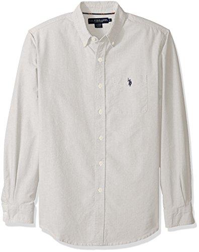 U.S. Polo Assn. Men's Classic Fit Solid Oxford Cloth Button Down Sport Shirt, Light Heather Gray, Medium