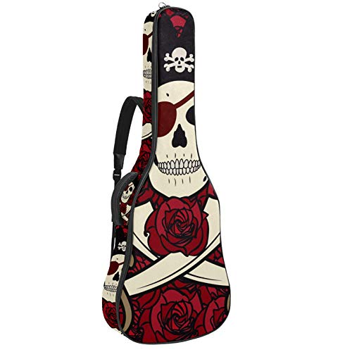 Funda para guitarra eléctrica acústica con diseño de calavera piratas, rosa de...