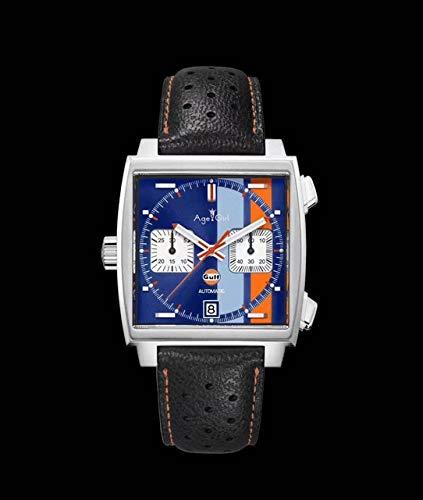 NSBKSB Herrenuhr Luxusmarke New Men Silber Rot Schwarz Leder Edelstahl Chronograph Blue Gulf Racing Sapphire Special Edition Uhr6