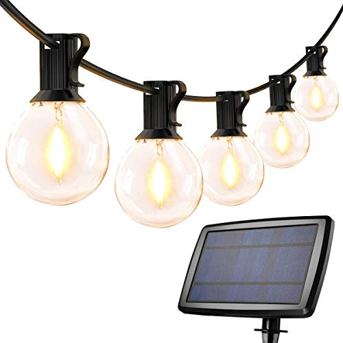 D Solar Outdoor String Lights, 25ft G40 Festoon Lights with 25 Car D Bulbs, Warm White 4 Modes, Waterproof Globe Fairy Lights for Christmas, Party, Garden, Patio, Backyard and More BJY969
