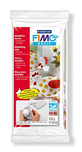 Staedtler FIMO Air Basic, Pâte à modeler blanche durcissante à l'air libre avec rendu argile, Pour débutants et artistes, Facile àdémouler, Pain de 500 grammes, 8100-0