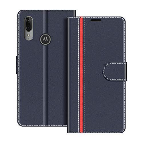 COODIO Handyhülle für Motorola Moto E6 Plus Handy Hülle, Motorola Moto E6 Plus Hülle Leder Handytasche für Motorola Moto E6 Plus Klapphülle Tasche, Dunkel Blau/Rot