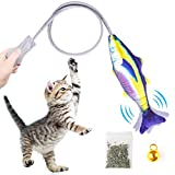 LONGCHANGWEN Katzenminze Spielzeug Fisch für Katzen,Manuelle Wagging Fisch Simulation Spielzeug Fisch,Plüsch Lustige interaktive Kissen Fisch Spielzeug zum Beißen/Kauen/Zahnreinigen/Treten