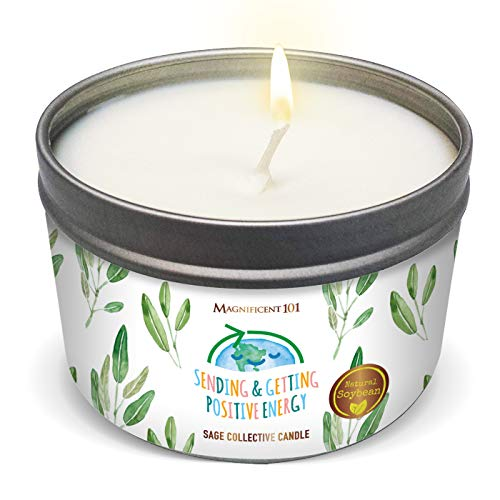MAGNIFICENT101 Pure White Sage Collective Candle Smudge Candle for House Energy Cleansing, Banishes Negative Energy - Natural Soy Wax Tin Candle (SENDING & GETTING POSITIVE ENERGY)