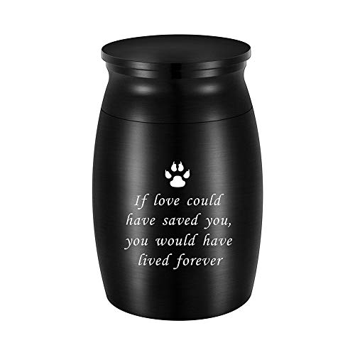 abooxiu 3 Inches Small Keepsake Urn for Pet Dog Ashes Aluminum Mini Cremation Urns for Dog Cat Memorial Ashes Urn for Sharing Fur Friend Ashes-Black