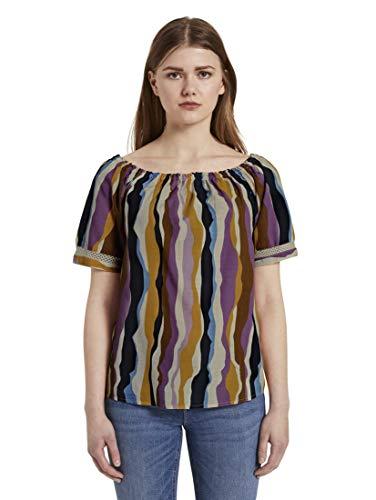 TOM TAILOR DENIM Blusen, Shirts & Hemden Carmenbluse Wavy Multicolor Stripes, M