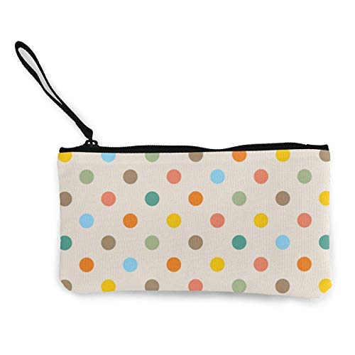 Colorful Polka Dots Canvas Coin Purse Bag Zipper Small Wallets Female Portable Large Capacity Personalized