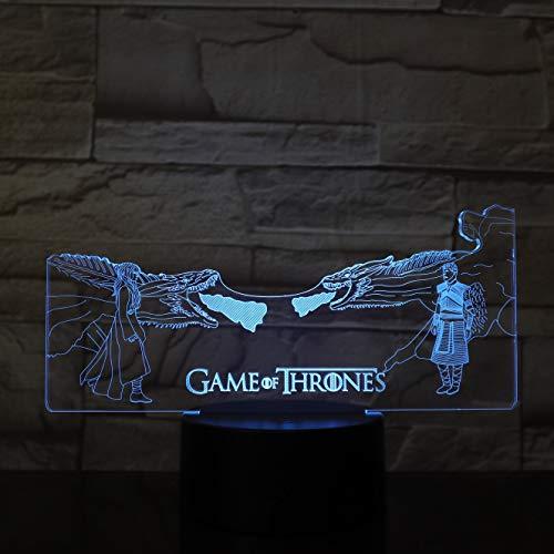 Spiel TV Drama Thrones Drache Feuer Drache Daenerys Targaryen Nachtlicht 3D LED USB Tischlampe Kinder Geburtstagsgeschenk Nachtzimmer Dekoration
