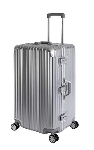 Travelhouse London Koffer Sport Silber - XL Alu Rahmen Polykarbonat Hartschale · Trolley Reisekoffer Reisegepäck · 2X TSA Zahlenschloss · 4 Doppelräder · 360°Rollen · Vol. 110L