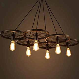 LightInTheBox Lighting Personality Industrial Loft Style Wrought Iron Chandelier Restaurant Bar Cafe Restaurant Wheel Pendent Lights