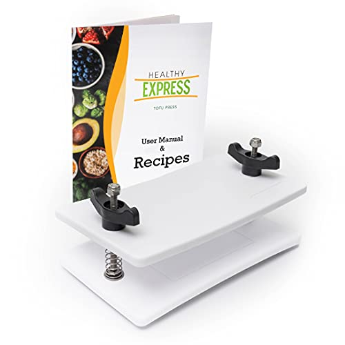 Extra Firm Tofu Press - by Healthy Express - Premium curved plates for superior pressing results on Firm and Extra Firm tofu.