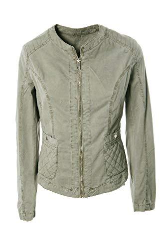JOPHY & CO. Giacca Corta Donna 100% Cotone con Tasche, Zip, Senza Colletto (cod. 33120) (Verde Militare, S)
