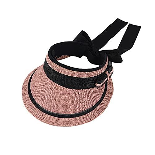 XCBHJXD Mujer Paja Sombrero Sombrero Sombrero Fine Raffia Hollow Top Damas con Pegatinas absorbentes de Sudor Summer Fragrance Bow Cycling 56-58cm (Color : Pink)