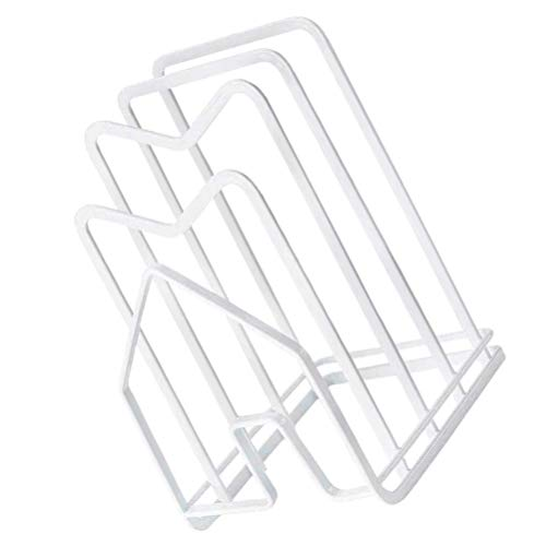 Cabilock Cutting Board Rack Pot Cover Storage Tissue Storage Holder White Napkin Container Kitchen Houseware Organizer Pantry Rack Chopping Board Plate Lid Stand for Home Kitchen