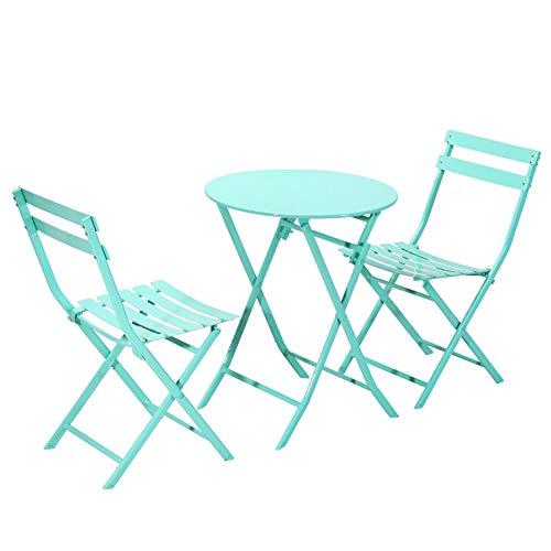 Hmcozy Gran Patio de Primera Calidad de Acero Patio Bistro Set, Juegos al Aire Libre Plegable de Muebles para Patio, 3 Piezas Juego de Patio Patio Plegable Mesa y sillas,8