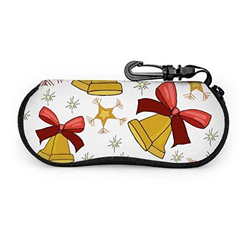 AEMAPE Estuche para gafas de viaje con campanas de mano navideñas Estuche para gafas divertidas Estuche para gafas con cremallera de neopreno portátil ligero para mujeres