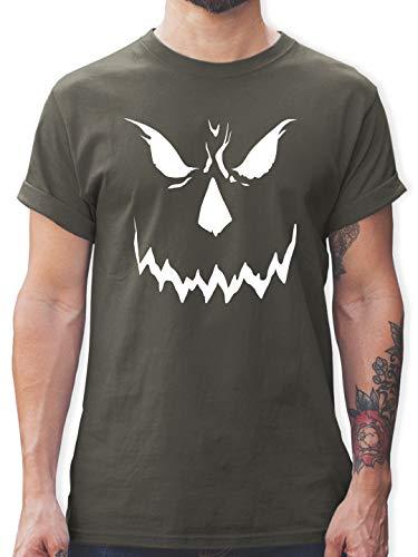 Halloween - Scary Smile Halloween Kostüm - L - Dunkelgrau - Gesicht - L190 - Tshirt Herren und Männer T-Shirts