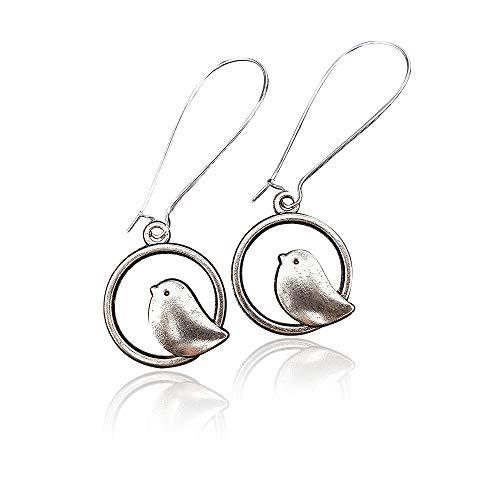 Silver Earrings for Women,Minimal Bird Earrings on mid length 24mm earwires in Silver toneearrings, includes Gift Box