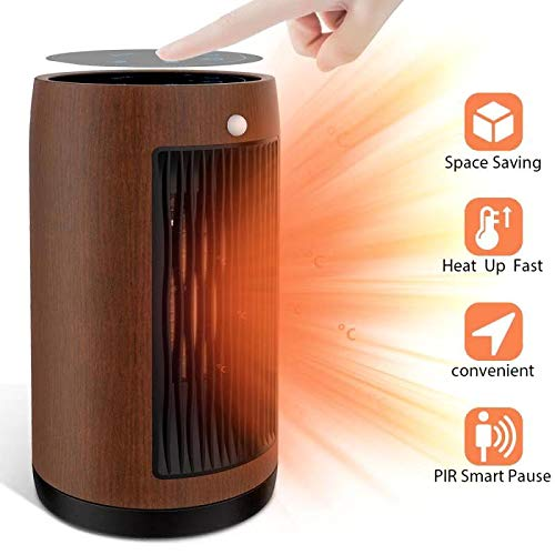 Electric Space Heater 1500W Portable Smart control,Touch panel, PIR Motion Sensor, Function 3 Modes with Overheat & Tip-over Shut off ,wood grain housing (Redwood) Heater Portable Space