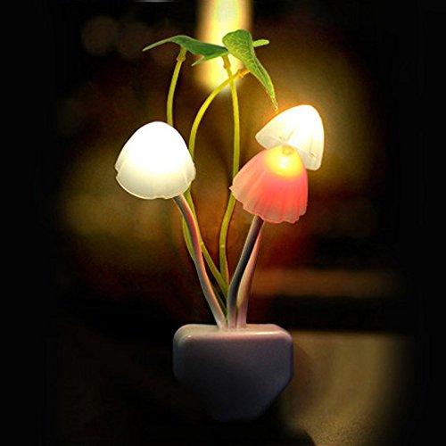 Luz nocturna LED con forma de seta, luz nocturna, sensor de luz, LED multicolor, seta