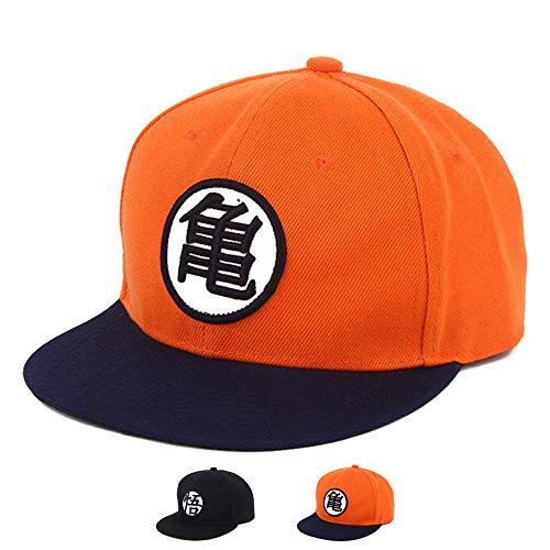 Anime Baseball Cap Canvas Snapback Cap Hip-Hop Style (Orange/Blue)