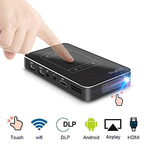 Mini Smart Video Projector with 120'' Display, Android 7.1 OS, Portable Pocket Size Movie Projector with TouchPad Support WiFi/1080P/TF Card/USB Compatible with iPhone Android for Home Theater