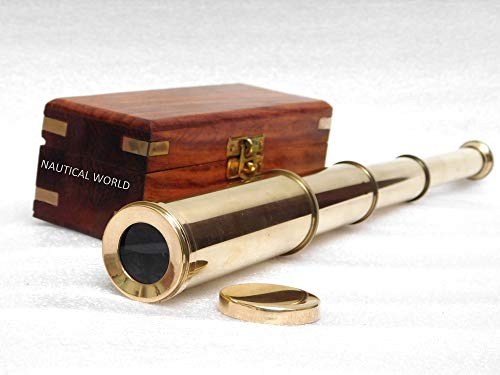Telescopio náutico de Mano de Estilo Antiguo con Caja de Palisandro