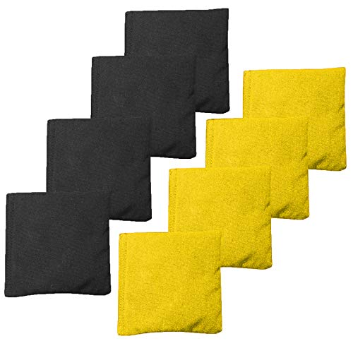 All Weather Cornhole Bean Bags Set of 8 - Duck Cloth, Regulation Size & Weight - Yellow & Black