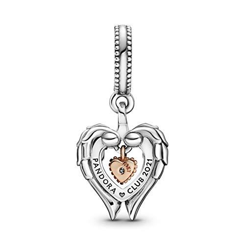 Pandora Club Charm Anhänger Engelsflügel und Herz aus 14 Karat rosévergoldetem Sterling Silber