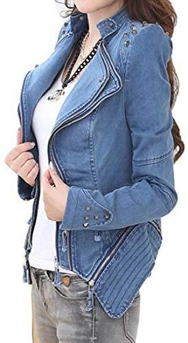Stgfstydt Women Shrug Slim Moto Plus Size Rivet Multi-Zip Short Crop Denim Jacket Coat Outerwear,Blue,Small