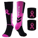 Breast Cancer Awareness Pink Ribbon Hope Socks & Wristbands Set - 1 Pair Athletic Crew Socks + 2 Pcs Wrist Sweatbands (Small)