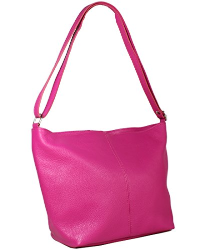 Freyday Echtleder Schultertasche in vielen Farben Henkeltasche Umhängetasche Made in Italy (Pink)