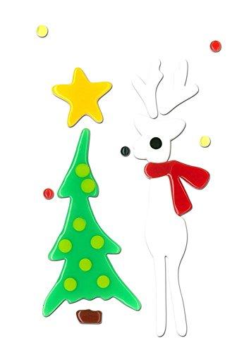 MagicGel Fensterbilder Weihnachten - Rentier weiß (10 x 17 cm), Fensterdeko für das Basteln mit Kindern