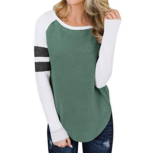 Briskorry Damen Strickjacken Pullover Herbst Beiläufig Strickpulli Sweatshirt Patchwork Langarm Strickwaren Bluse T-Shirt