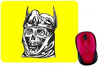 Alfombrilla para ratón con diseño de calavera y corona, calavera gótica, calavera, escarabajo antiguo, en negro, blanco, a...
