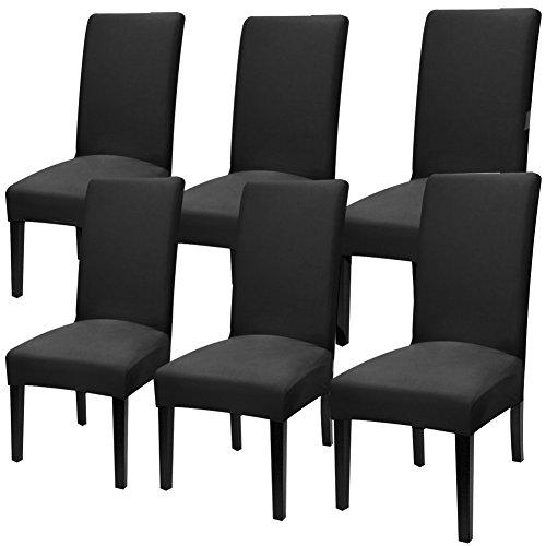 YISUN Universal Stretch Stuhlhussen 4er 6er Set Stuhlbezug für Stuhl Esszimmer (6er Set, Pures Schwarz)