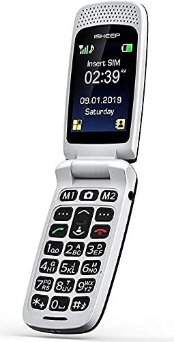 ISHEEP SF213 GSM Téléphone Mobile Simple pour Personnes Agées, Téléphone Senior Clapet Portable Débloqué,avec Grandes Touches,Big Volume,Bouton SOS, (Noir)