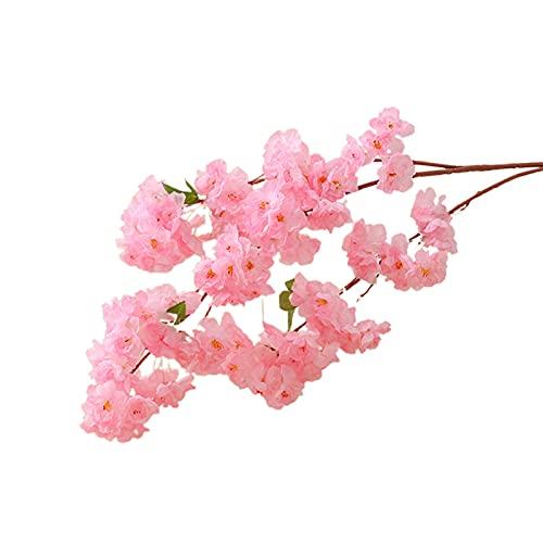 Hislaves Flor falsa, 1 pieza de tres ramas de flores artificiales DIY de seda sintética de mesa de centro de mesa de simulación de plantas para decoración del hogar, color rosa oscuro