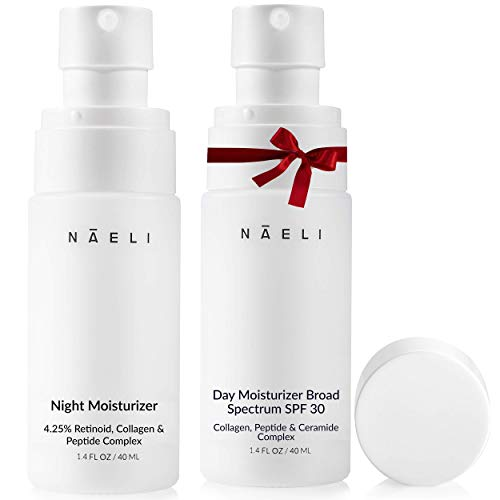 NAELI Face Moisturizer SPF 30 & Retinol Cream, Day & Night Anti Aging Collagen & Hyaluronic Acid Skincare Gift & Holiday Set for Women & Men, Hydrates & Reduces Wrinkles, Natural & Cruelty Free, 1.4oz