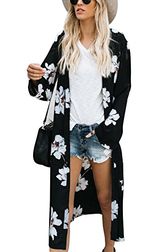 Walant Robe de Plage Femmes Grand Châle Gilets Plage Longue Kimono Bikini Cover Up Tunique en Mousseline de Soie Casual Floral Light Airy Beachwear Cardigan, Noir 2, Taille unique