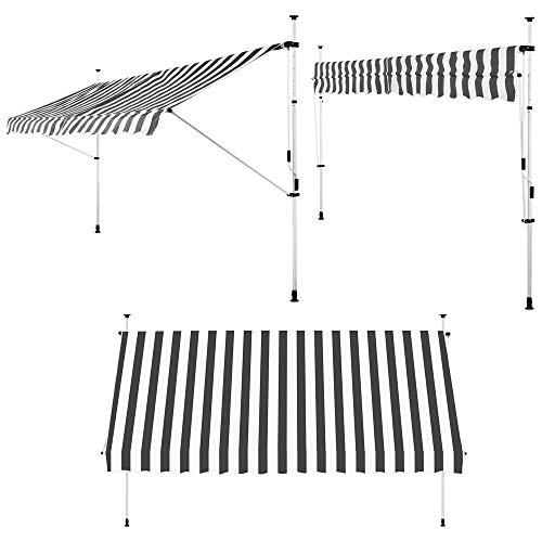 Detex Klemmmarkise 300cm x 180cm Weiß-Grau mit Handkurbel Balkonmarkise UV-beständig höhenverstellbar wasserabweisend