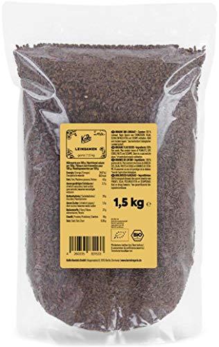 KoRo - Bio Leinsamen 1,5 kg Vorteilspack - Ganze Rohe Samen aus Kontrolliert Biologischem Anbau ohne Zusätze