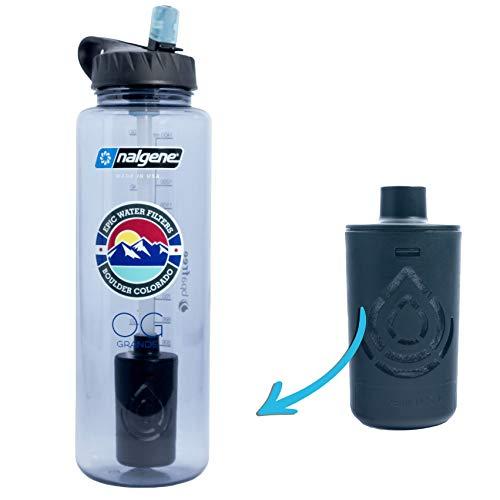 Epic Nalgene OG Grande   Water Bottle with Filter   USA Bottle and Filter   Dishwasher Safe   Filtered Water Bottle   Travel Water Bottle   BPA Free Water Bottle   Removes 99.99% Tap Water Impurities