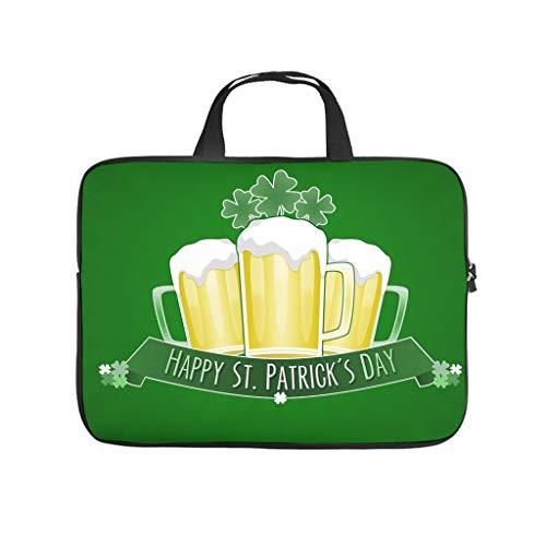 St Patricks Tag Hat Laptop Bag Waterproof Laptop Briefcase Custom Laptop Bag for University Work Business