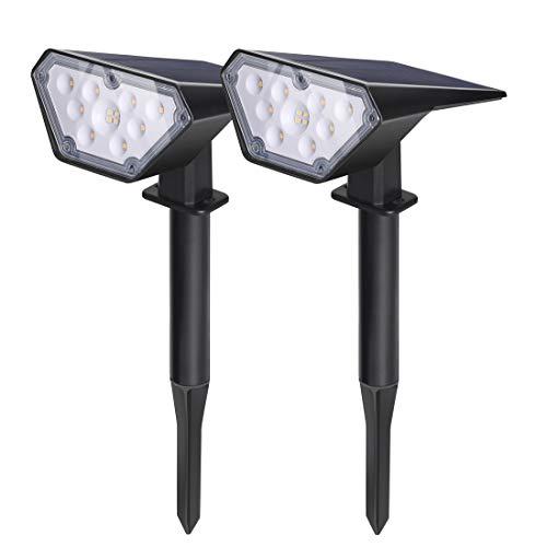 Ankway LED Gartenleuchten Solar (4Led pro Licht, 2 Lichtsmodi), Einstellbar Solarleuchten Solarlampen IP65 Wasserdicht Beleuchtung für Garten/Outdoor Landscape Solar Spotlight (Schwarz, 2 Stück)