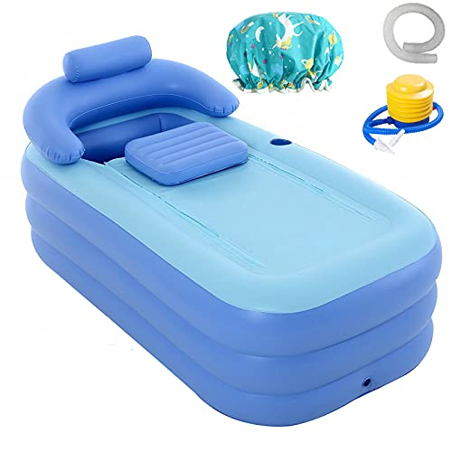 Bañera inflable para adultos de pie con función portátil plegable de PVC de alta densidad para baño Spa (gorro de ducha gratis)