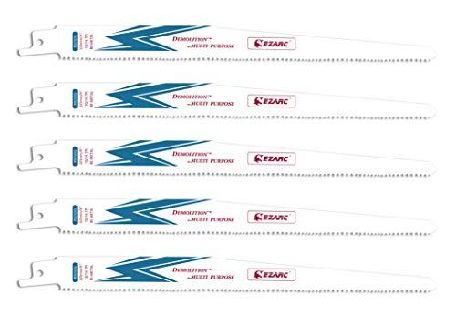 EZARC Hojas de sierra Sable R925DG para Multiusos Demolición 225mm 10/14TPI (pack de 5)