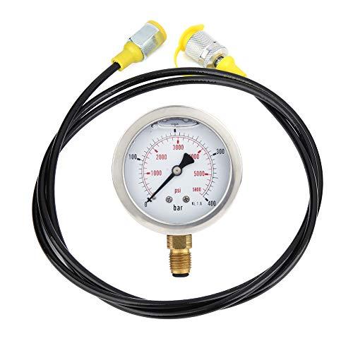 Manómetro, acoplamiento de punto de prueba de manguera hidráulica M16 * 2-BSP 1/4 + 0~400 BAR/6000 PSI Manómetro de 1,5 m manguera