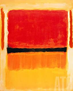 ArtToCanvas 24W x 30H inches : Untitled Violet, Black, Orange, Yellow on White and Red, 1949 by Mark Rothko - Paper Print ONLY